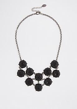 Black Druzy Stone Necklace