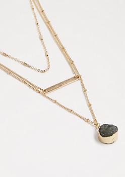 Druzy Stone Layered Necklace