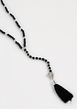 Black Beaded Boho Y-Necklace