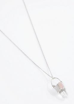 Silver Rose Quartz Prosperity Prism Necklace