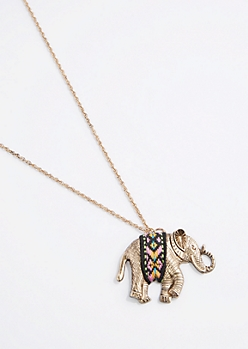 Tribal Wrapped Elephant Necklace