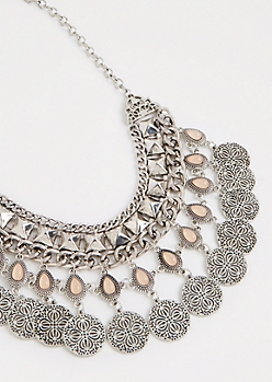 Studded Coin Statement Necklace