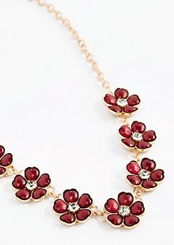 Burgundy Stone Daisy Necklace