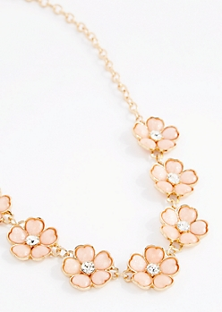 Peach Stone Daisy Necklace