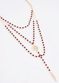 Burgundy Beaded Medallion Drop Necklace
