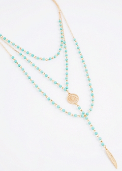 Turquoise Beaded Medallion Drop Necklace