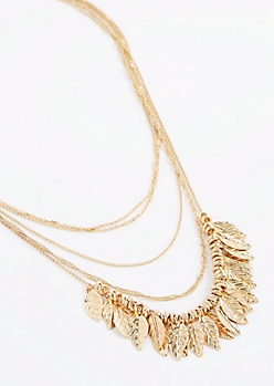 Metal Leaf Layered Necklace
