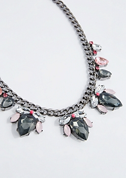 Antique Pink Stone Drop Necklace