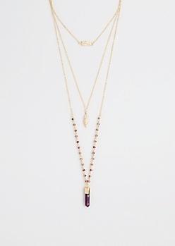 Purple Prism Tri-Layered Necklace