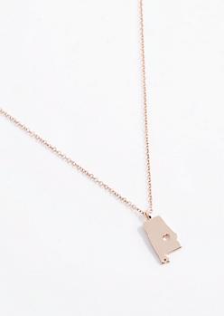 Alabama Rose Gold Charm Necklace