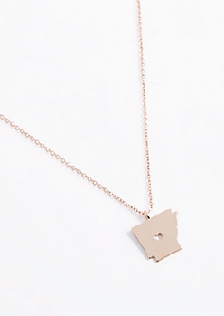 Arkansas Rose Gold Charm Necklace