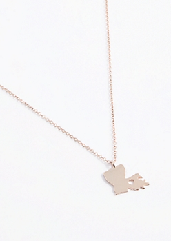 Louisiana Rose Gold Charm Necklace