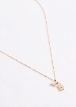 Michigan Gold Charm Necklace