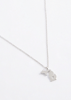 Michigan Silver Charm Necklace