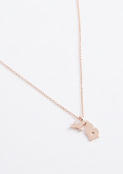 Michigan Rose Gold Charm Necklace
