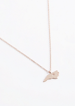 North Carolina Rose Gold Charm Necklace