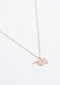 Oklahoma Rose Gold Charm Necklace