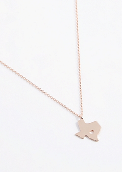 Texas Rose Gold Charm Necklace