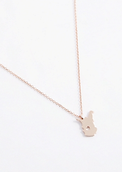 West Virginia Rose Gold Charm Necklace