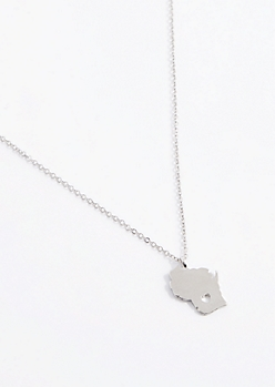 Wisconsin Silver Charm Necklace