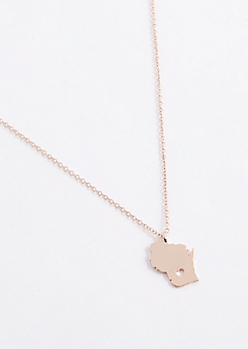 Wisconsin Rose Gold Charm Necklace