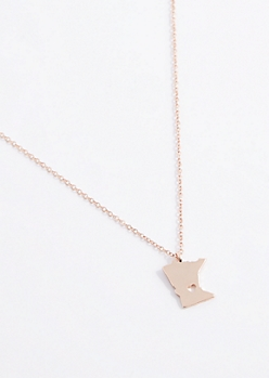 Minnesota Rose Gold Charm Necklace