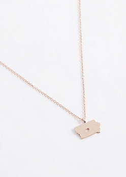 Iowa Rose Gold Charm Necklace