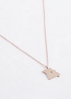 Missouri Rose Gold Charm Necklace