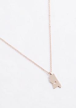 Mississippi Rose Gold Charm Necklace