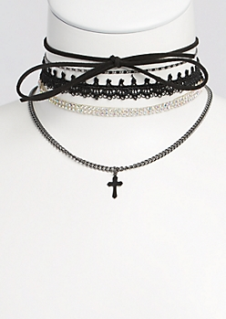 5-Pack Crochet & Cross Choker Set