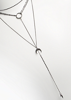 2-Pack Dark Metal Crescent Drop Necklace Set