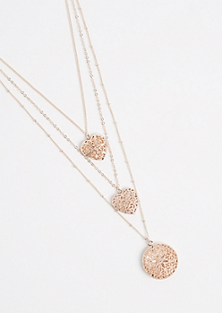 3-Pack Heart Locket Necklace
