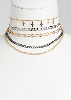5-Pack Layered Chain Choker Set