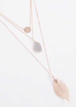 Filigree Leaf & Stone Layered Necklace