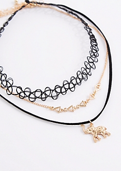 3-Pack Boho Elephant Choker Set