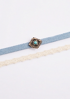 2-Pack Turquoise Charm Choker Set