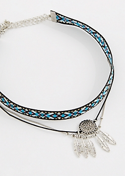 3-Pack Tribal Feather Choker Set