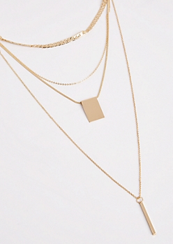 2-Pack Gold Geo Layered Necklace Set
