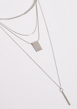 2-Pack Silver Geo Layered Necklace Set