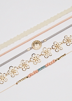 5-Pack Flower Chain & Suede Choker Set
