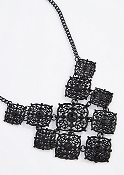 Black Filigree Medallion Statement Necklace