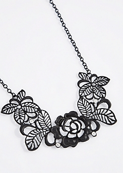 Black Filigree Flower Statement Necklace