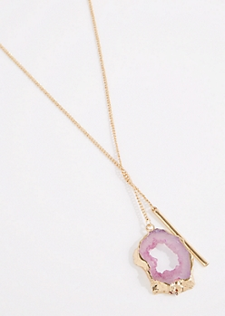 Pink Agate & Bar Pull-Through Necklace