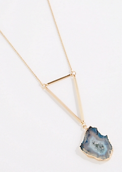 Blue Agate Geo Drop Necklace