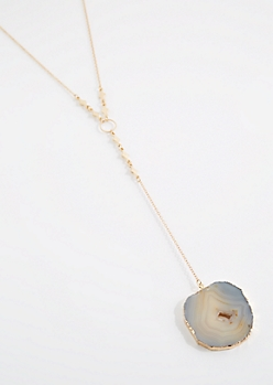 Agate Geode Slice Y-Necklace
