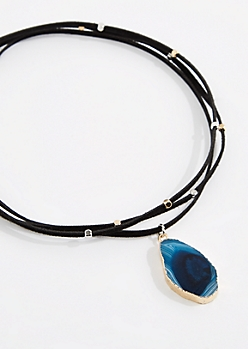 Black Beaded Blue Agate Wrap-Around Necklace