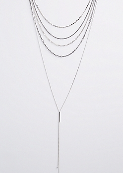 Chain Link Layered Drop Necklace