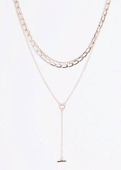 Bar Drop Chain Link Tiered Necklace