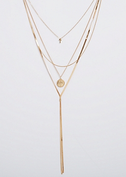 Cross Medallion Layered Necklace