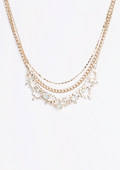 Stone Crown Tiered Necklace